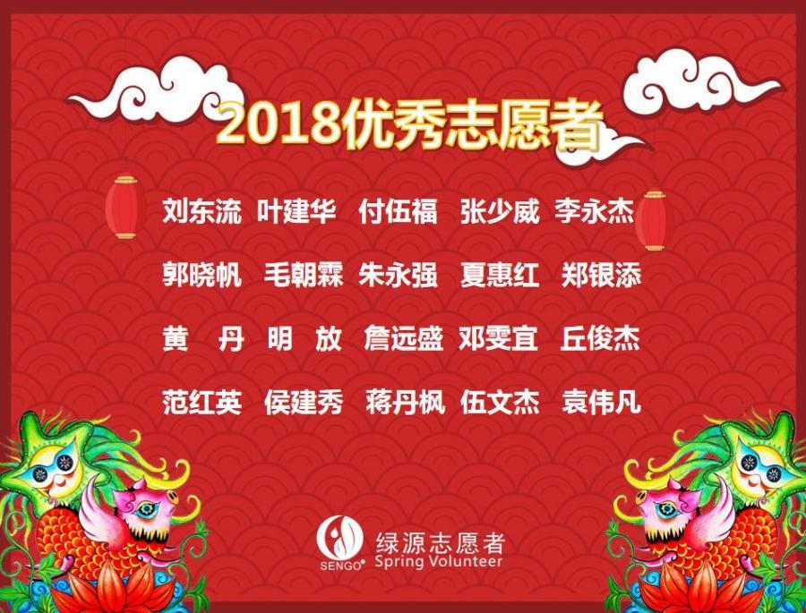 公示 | 深圳绿源2018年度优秀志愿者
